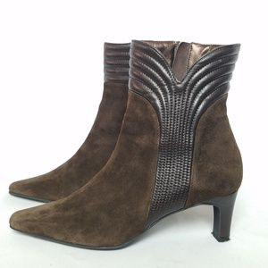Genuine suede leather ankle boots brown size 8
